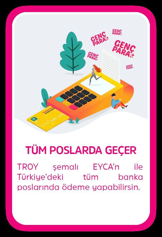 TÜM POSLARDA GEÇER - TROY şemalı EYCA ile Türkiye'deki tüm banka poslarında ödeme yapabilirsin.