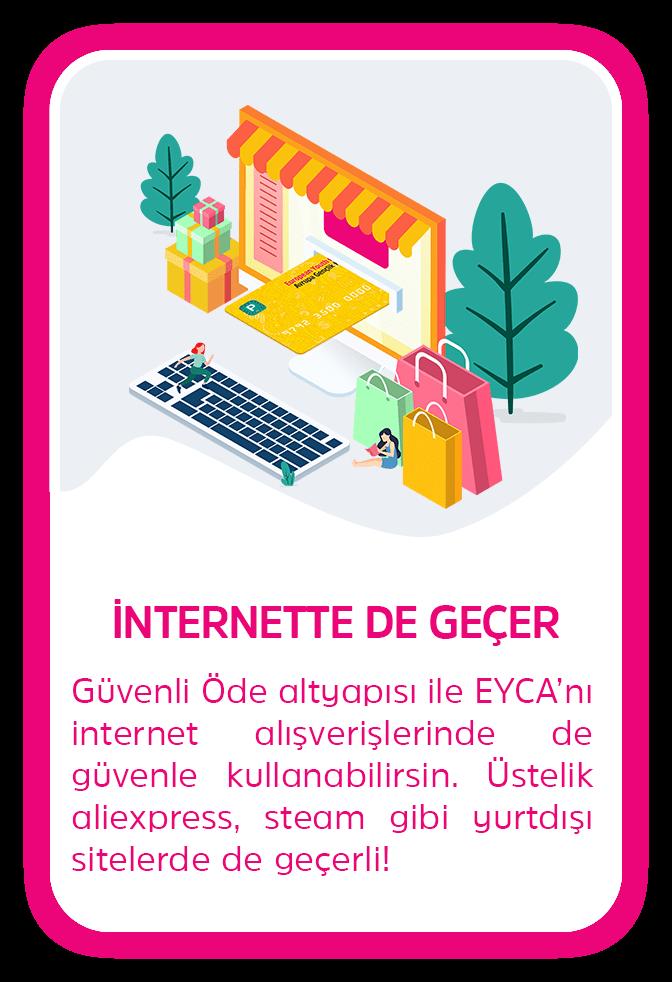 İNTERNETTE DE GEÇER - Güvenli Öde altyapısı ile EYCA'nı internet alışverişlerinde de güvenle kullanabilirsin. Üstelik aliexpress, steam gibi yurtdışı sitelerde de geçerli!