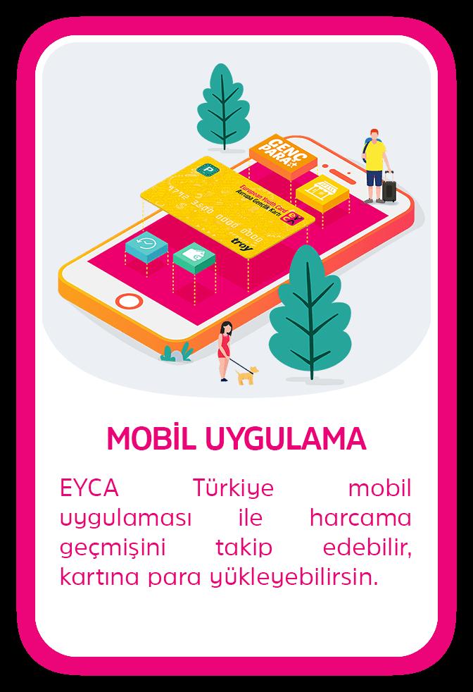 MOBİL UYGULAMA - EYCA Türkiye mobil uygulaması ile harcama geçmişini takip edebilir, kartına para yükleyebilirsin.