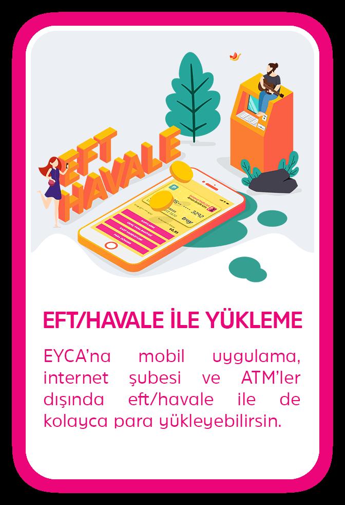 EFT/HAVALE İLE YÜKLEME - EYCA'na mobil uygulama, internet şubesi ve ATM'ler dışında eft/havale ile de kolayca para yükleyebilirsin.